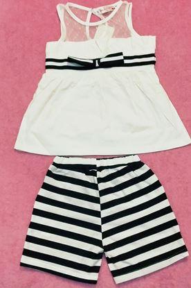 Sleeveless Spliced T-Shirt + Mini Striped Shorts Girl's Twinset