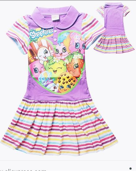 Shopkins Short Sleeve Dress Rainbow Pattern